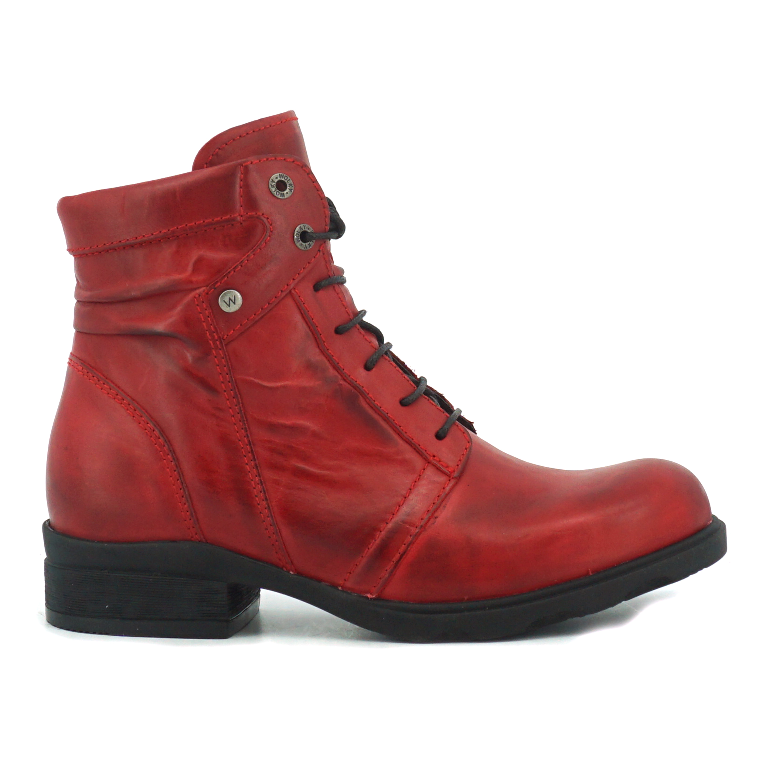Wolky 0262530 Centre Softy Wax donkerrood dames veterboot