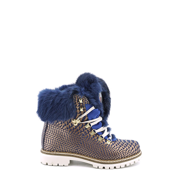 Dames Veterboot New Italia Shoes 1515404A blauw