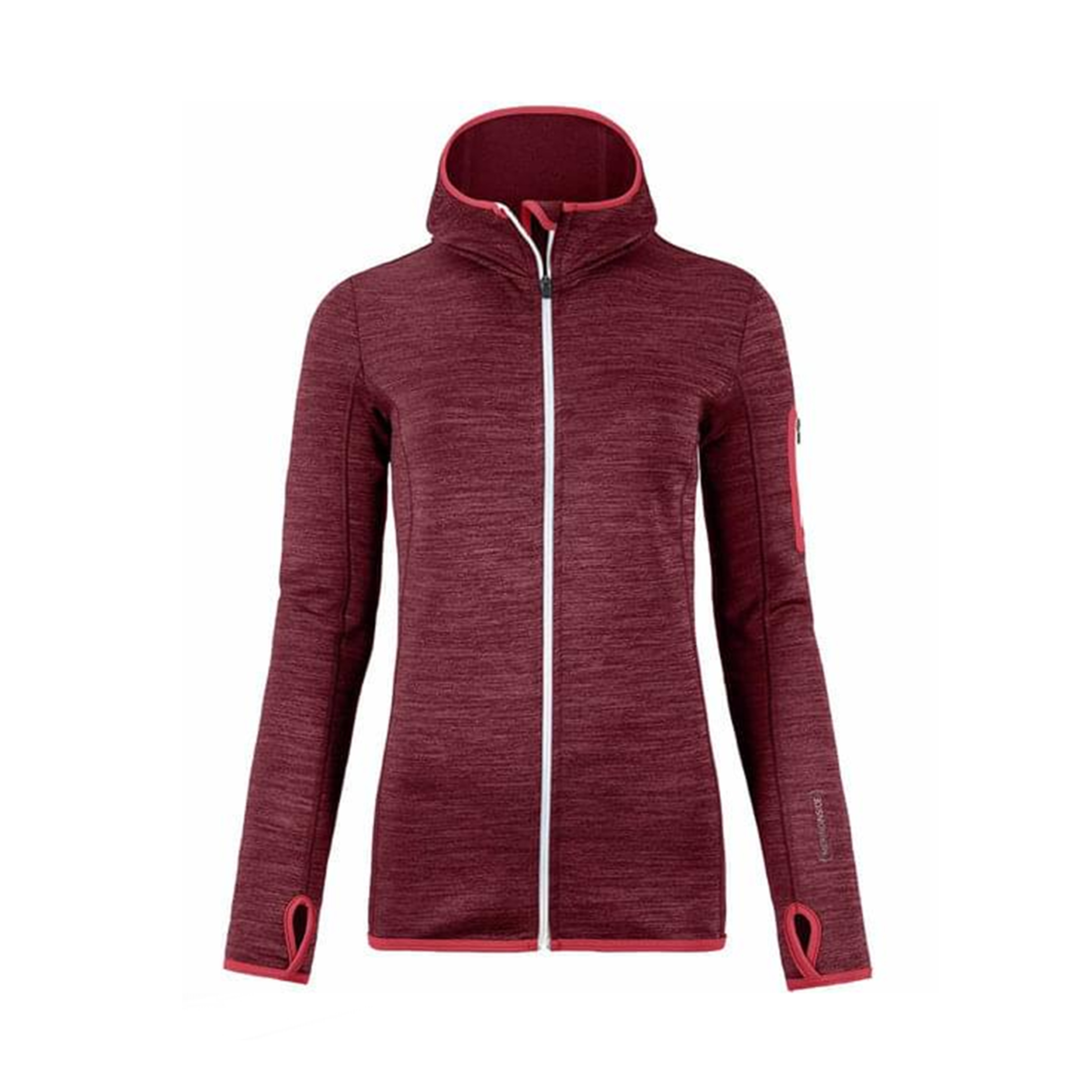 Dames Vest Ortovox Fleece Melange Hoody bordeaux