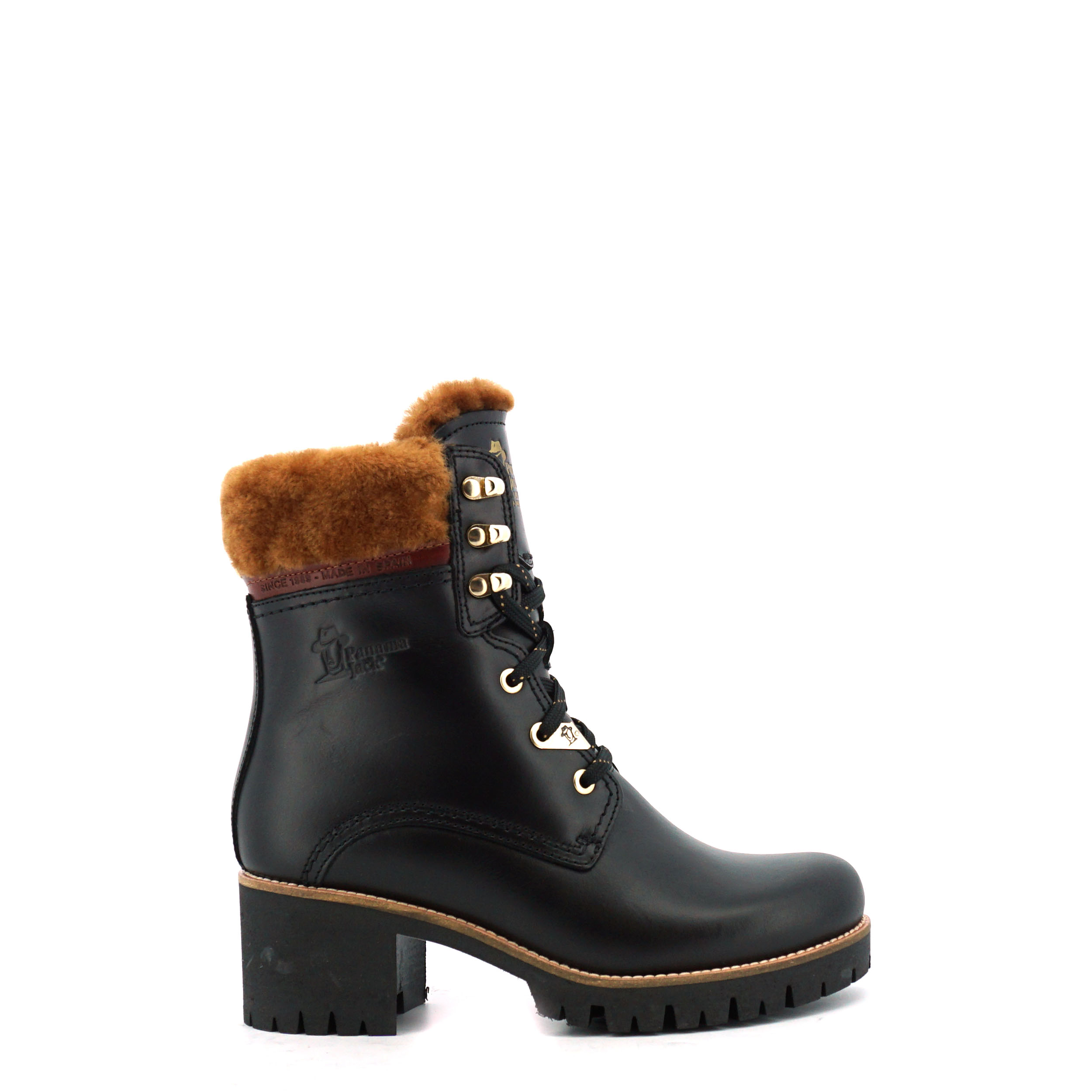 Dames Veterboot Panama Jack Phoebe Igloo Brooklyn b1 zwart